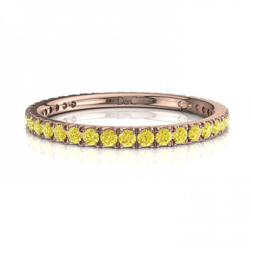 Alliance Saphir jaune de 0.33 carats en or rose  Anaïs