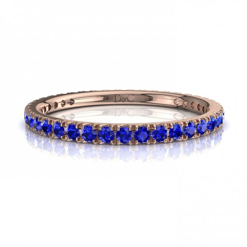 Alliance Saphir bleu de 0.33 carats en or rose Anaïs